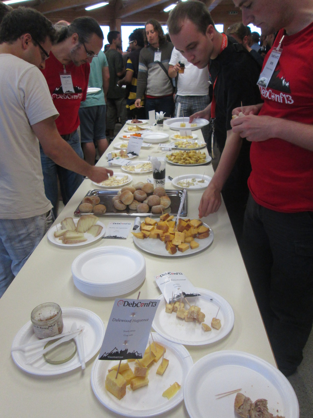 typical DebConf cheese & wine table