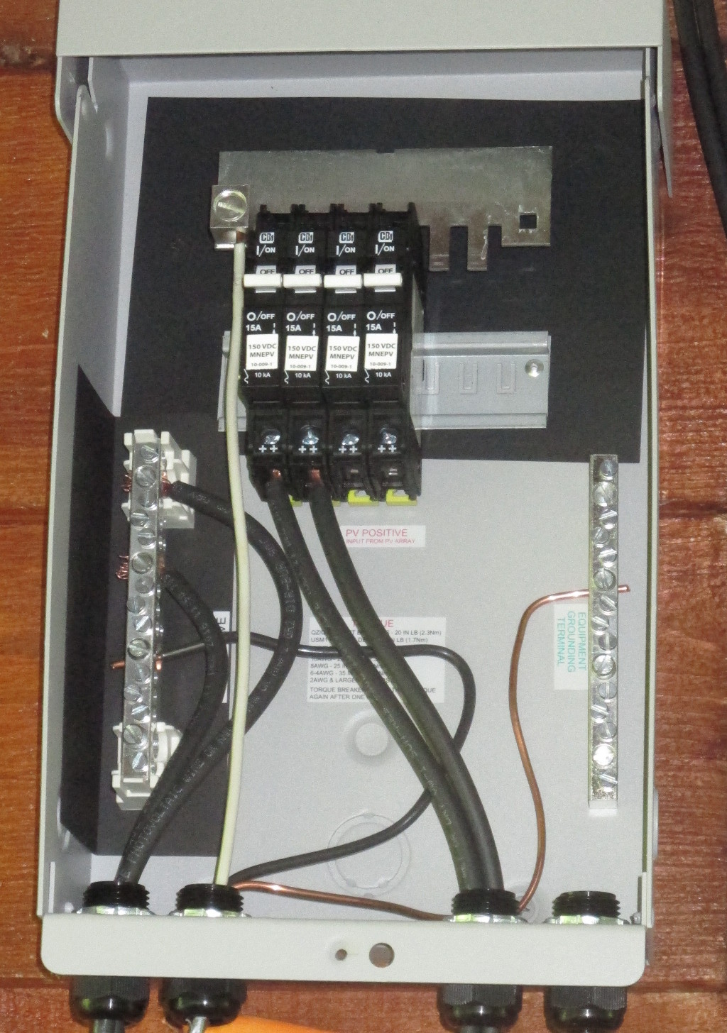 PV combiner box wiring